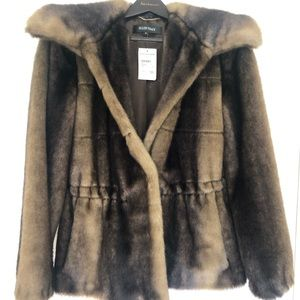 Faux mink Ellen Tracy drawstring waist jacket.